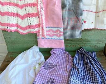 Vintage Lot 7 Half Aprons Gingham Check Embroidery Floral Crochet Lace