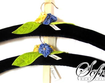 Embroidered Padded Hangers | Set of Two | Navy Blue Velvet Body | Blue, Yellow, Green Floral Design | Mother's Day Gift Idea | Reversible