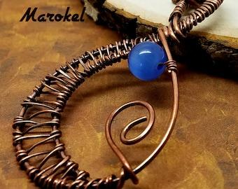 Pale Blue Cats Eye Necklace Teardrop Copper Wire Weave Oxidized Metal