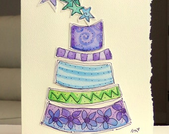 "Birthday Cake Happy Birthday Watercolor Original Card ""Big Card"" 5x7 With Matching Envelope  betrueoriginals"
