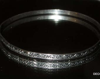Beau Swirl Designed  Sterling Bangle Bracelet Skinny