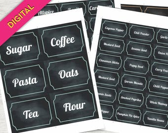 Pantry Labels- Kitchen Labels PRINTABLE - Pantry Food Labels, Pantry Stickers, Pantry Organization Labels, Jar Labels, Kitchen Labels Set