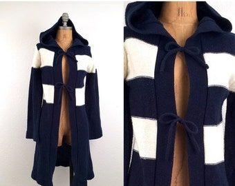 SALE vintage 70s NAVY + IVORY hooded Maxi cardigan sweater S-M