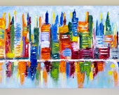 A Cityscape Abstract  Oil Painting by Evie Mineau. Professionally Framed-Ready to Hang