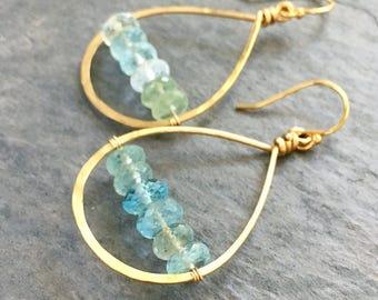 Ocean Blue Aquamarine Gemstone Earrings. Natural Light Blue Natural Raw Genuine Aquamarine Gemstone Earrings