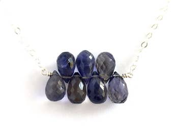 Violet Iolite Necklace. Purple Violet Gemstone Sterling Silver Necklace.