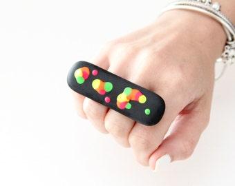 Double Finger Ring Glass - big ring, black ring, handmade ring, multifinger ring, statement ring, neon ring