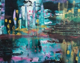 New York New York - Original abstract painting on paper in colours of jade, purple,  royal pink and gold.