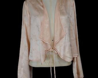 Original vintage 1930s peach pink silk satin lingerie jacket- Small - FREE SHIPPING WORLDWIDE