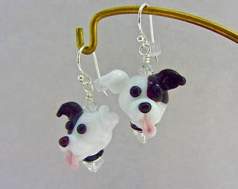 Pit Bull Terrier Earrings - Lampwork Bead Creation SRA