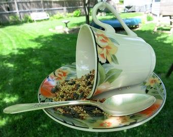 Teacup Bird Feeder, Repurposed China Teacup Bird Feeder, Unique Bird Feeder - TCBF101 -112