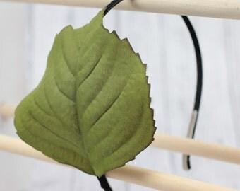 Green broad leaf hair band. Woodland fantasy elf headband. Mother nature natural leaves   a011