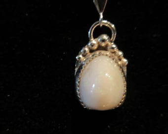 CLEARANCE SALE - Sterling Silver Mexican White Opal Necklace Pendant