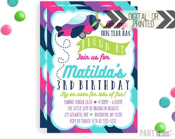 Girl Airplane Invitation | Digital or Printed | Girly Plane Invitation | Airplane Invitation Girl | Airplane Invite | Airplane Theme Party