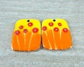Yellow Orange Red Enamel Earring Charms, Colorful Spring Floral Enameled Copper Jewelry Componenets, Torched Fired Enamel Rectangle Pendants