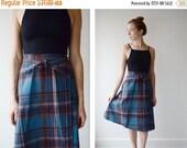 1970s Plaid Wrap Skirt - S