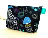Jellyfish Sea Anemone Fabric Large Cosmetic Bag Padded Makeup Bag Zip Pouch Michael Miller Into Deep So Jelly Fish Navy Blue Turquoise MTO