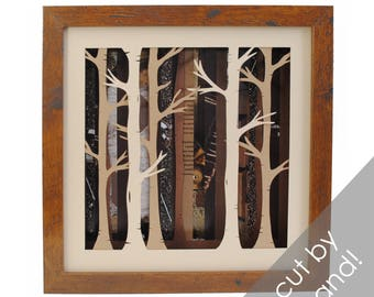 BROWN birch tree forest shadowbox- made from recycled magazines, trees, birch, nature, forest, frame, modern trees, depth, layers, unique