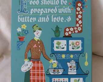 Swedish Scandinavian Folk Art Wooden Kitchen Wall Hanging Old Stove Woman Cooking Cat Love and Butter
