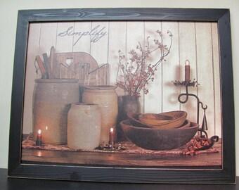 Primitive Wall Decor,Country Decor,Crocks,Wooden Bowls,Handmade Disressed Frame,Simplify,261/2x201/2,Susie Boyer