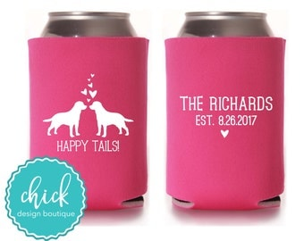 Happy Tails, Custom Dog Breed, Last Name Date - Custom Cooler Personalized Wedding Favor Party Gift Anniversary Favor Engagement Favor 3D381