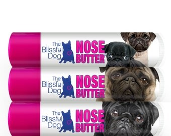 Pug ORIGINAL NOSE BUTTER® for Dry Crusty Dog Noses 3-Pack of .15 oz Tubes with Choice of Black, Fawn, Pug Duo or One of Each Labels