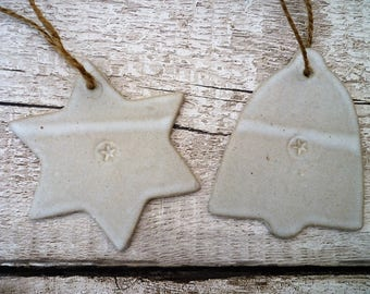 FREE SHIPPING- Star and Bell Ceramic christmas decorations, Ceramic hanger, handmade, decoration, garden hanger