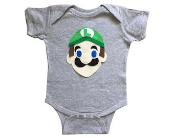 Luigi - Kids Grey Baby Bodysuit - Children's Clothing - Gift