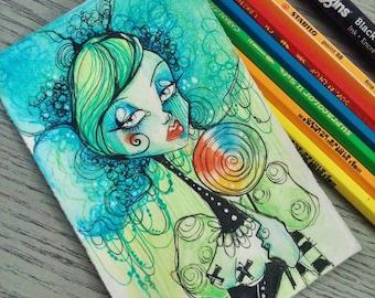 Goth Girl With Lollipop original illustration