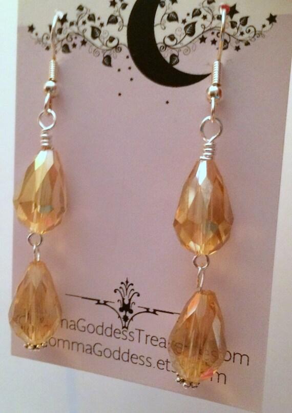 Women, Earrings, Holiday Gold Crystal Dangle Earrings
