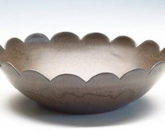 Dark Brown  Ceramic Flower Bowl/ Fruit Bowl/ Serving Bowl
