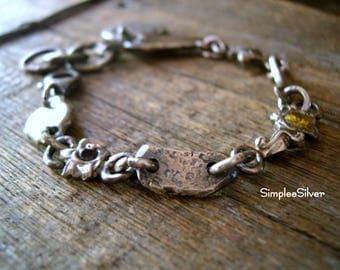 Handmade Jewelry  -  Sterling Silver Grunge Bracelet  -  Gemstone Bracelet  -  Rustic Bracelet  -  SimpleeSilver  -  Silver Nugget Bracelet