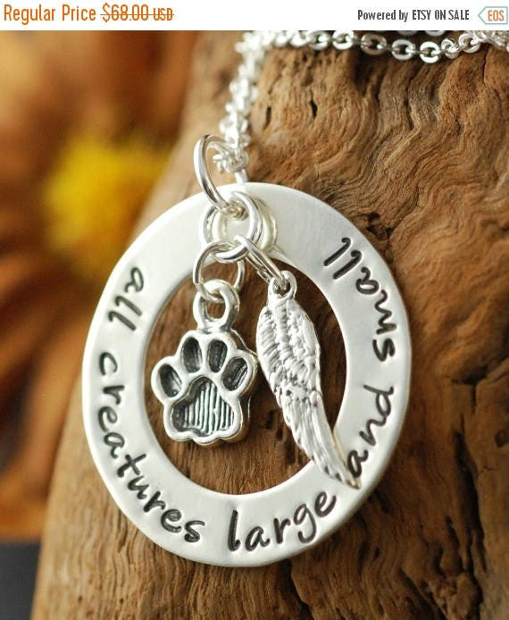 15% OFF SALE Dog Paw Necklace | Personalized Sterling Silver Necklace, Animal Lover, Dog Paw Charm