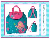 28 Fonts Toddler Girl's Backpack- MERMAID PRINCESS Teal and Pink Preschool Book Bag Personalized FREE