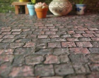 1/12 Scale Downloadable Printable Dollhouse Old Cobblestone Pavement