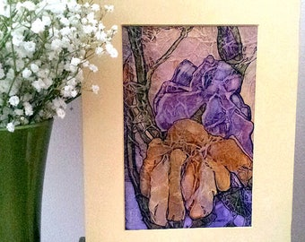 Watercolor On Tissue WILD IRISES Lynne French Original ZEN Inspired Painting