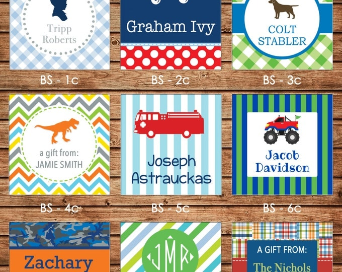 2017 DESIGNS! 24 Square Personalized Boy Enclosure Cards or Gift Stickers - Choose One Design