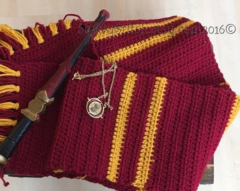 Harry Potter GRYFFINDOR Inspired SCARF Crochet Upper Years Hogwarts Scarves Costume Cosplay Quidditch Witch Wizard Hermione Ron