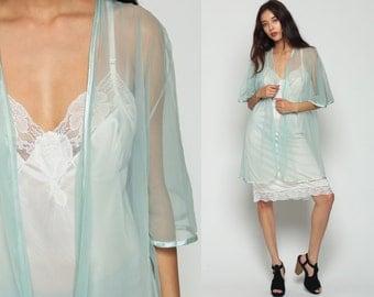 Lingerie Robe Jacket 90s Kimono Robe SHEER Lingerie WRAP Seafoam Blue Angel Sleeve Romantic See Through Vintage Pastel Large