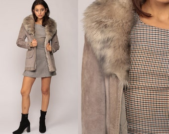 Suede Coat 70s FAUX FUR Leather Hippie Jacket Boho Grey 1970s Hipster Bohemian Seventies Glam Disco Womens Small