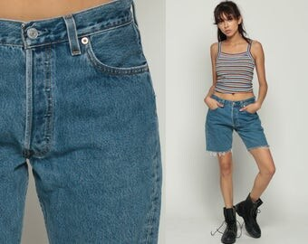 Levis Shorts Cut Off Shorts 80s Denim Shorts Levi Cutoff Jean Bermuda 501 High Waisted Cutoff Button Fly Frayed 1980s Blue Vintage Medium 30
