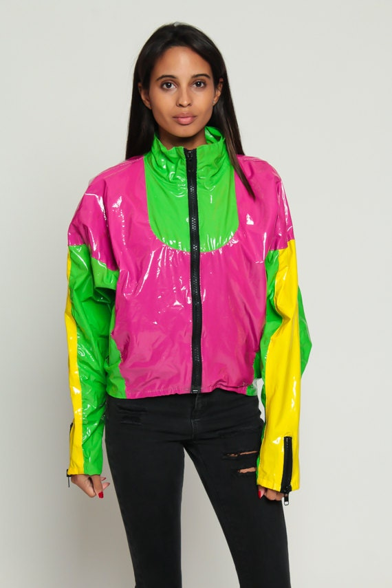 Rain Jacket 80s NEON Jacket Rain Coat SURFJAMMER Vinyl Color