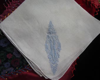"Blue Embroidered ""B"" Monogrammed Handkerchief. Bridal, Wedding, Baby Boy"