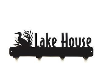 Lake House Metal Art Coat Rack - Free USA Shipping