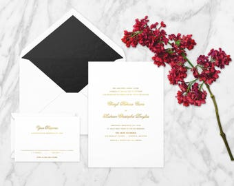 The 'Bianca' Minimalistic Calligraphy Gold Foil Wedding Invitation Suite (Sample)