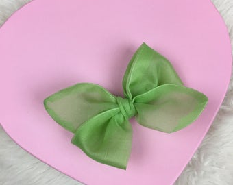 Vintage Organdy Sheer Spring Green Rosie Bow Barrette for Baby, Newborn, Infant, Toddler, Child, Girl, or Adult