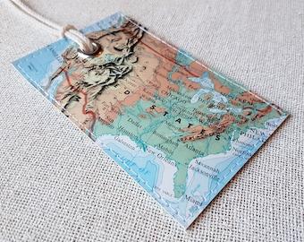USA luggage tag made with original vintage map