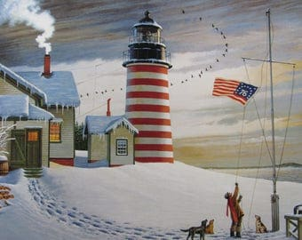 Charles Wysocki, West Quoddy Head Light/Hickoryhaven Canal, 2-sided 1994 Vintage Bookpage Print, Unframed Colorplate