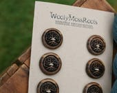 6 Wooden Tree Buttons- Oregon Myrtlewood- Wooden Buttons- Eco Craft Supplies, Eco Knitting Supplies, Eco Sewing Supplies