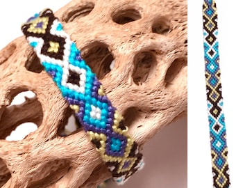 Friendship bracelet - embroidery floss - diamond pattern - string - knotted - blue - white - thread - macrame - woven - best friend - cotton